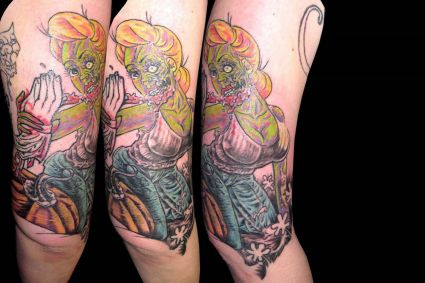 Zombie Tattoo Art On Shoulder