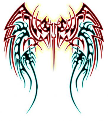 Angel Wings Trible Tattoos Design
