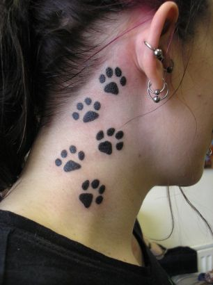 Bear Paw Tattoo On Neck