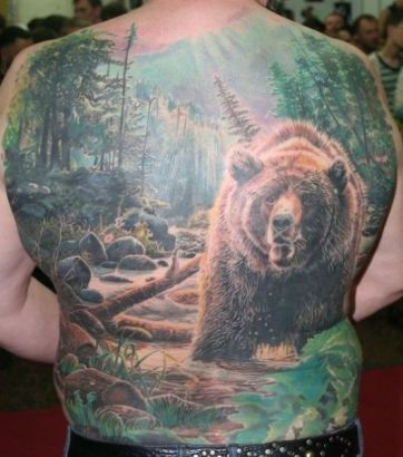 Bear Tattoos With Forest