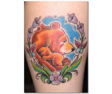 Bear With Baby Bear Tattoo