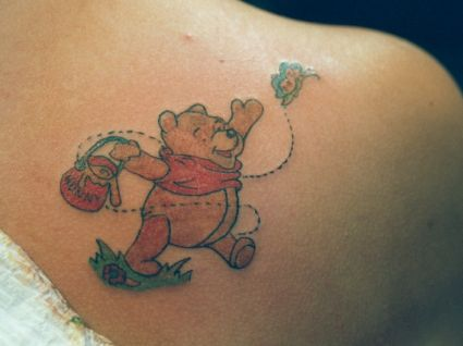 Teddy Bear And Butterfly Tattoo