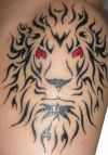 tribal lion face tattoo