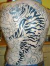 large tiger tattoo on back