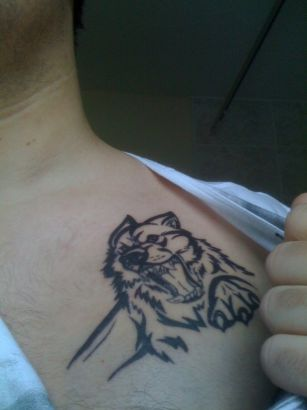 Tribal Wolf Rage Tattoo
