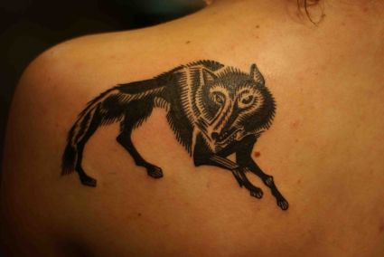 Wolf Image Tattoo On Back