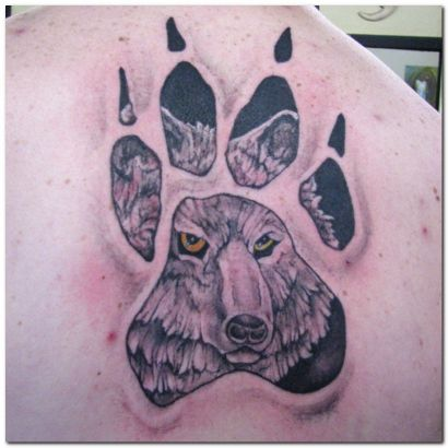 Paw With Wolf Tattoo
