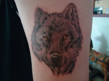 Wolf Face Image On Tattoos