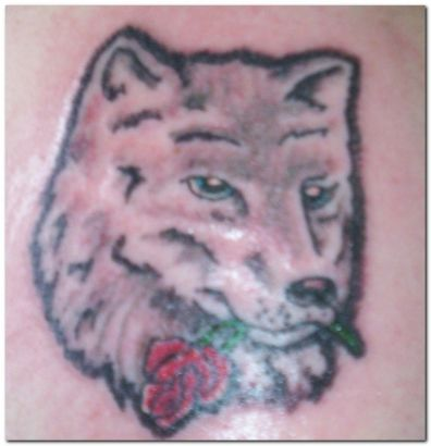 Wolf With Rose Tattoo