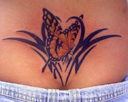 Butterfly And Tribal Pic Tattoo On Lower Back
