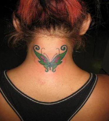 butterfly pic tattoo on back of neck tattoo from itattooz. Black Bedroom Furniture Sets. Home Design Ideas