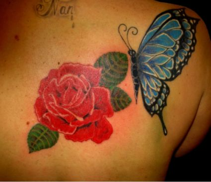 Rose And Butterfly Pic Tattoo On Back