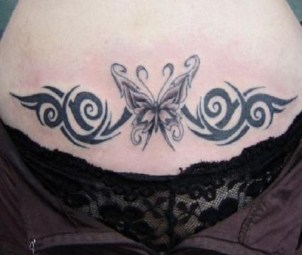 Butterfly Tattoos Lower Stomach Tattoo on Lower Stomach