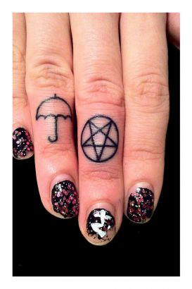 Umbrella And Pentagram Tattoo