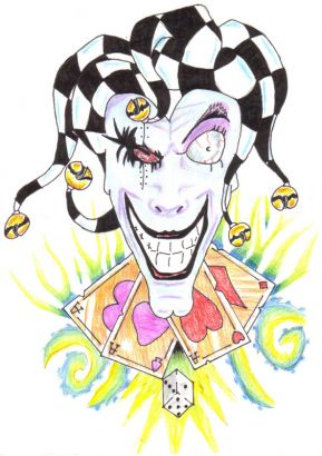 Joker Face And Card Tattoos