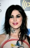 kat von d neck and forehead tattoo