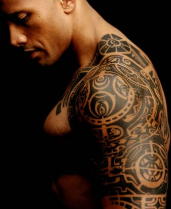 The Rock Arm And Shoulder Tattoo