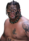umaga chest and face tattoo