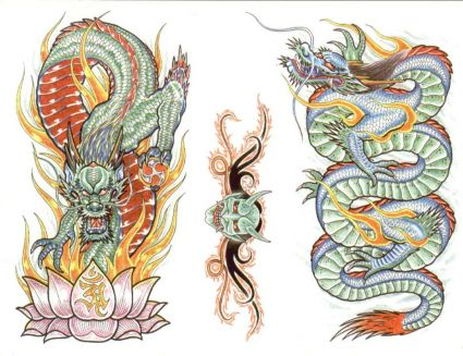 Dragons in Color Colored Dragon Tattoo