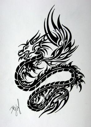 Tribal Black Dragon Tats    Tattoo - 27.8KB