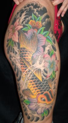 Koi Fish Tattoos On  Leg