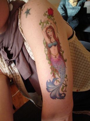 Mermaid With Flower Vine Tattoo