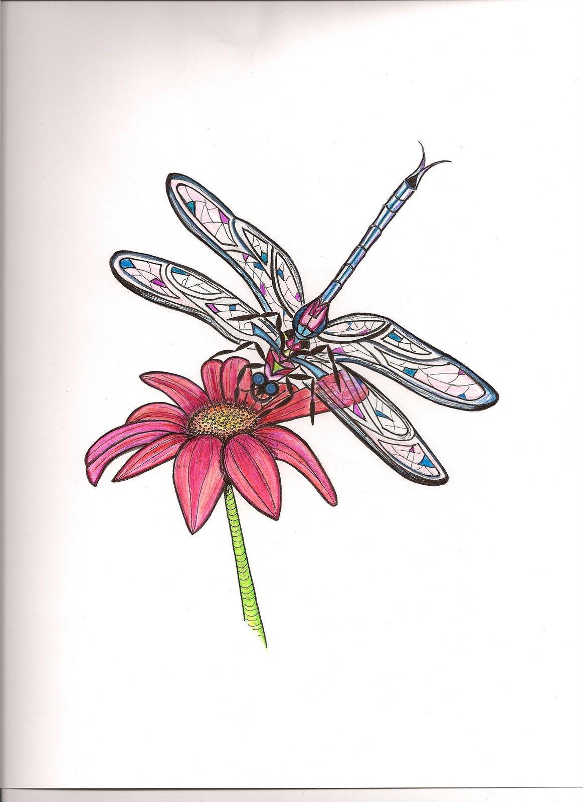 Daisy flower tattoo with dragonfly izmirmasajfo