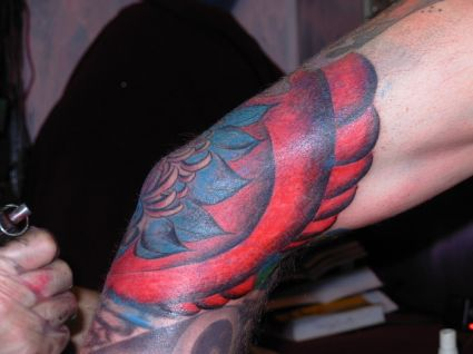 Lotus Elbow Tattoo