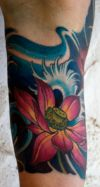 jamie lotus leg tattoo