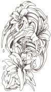 flower and watter splash tattoo