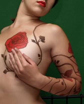 Rose Tattoo Design On Chest