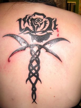 Tribal Rose Back Tattoo