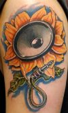 sunflower speaker tattoo on arm