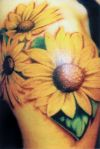 sunflower tats on shoulder