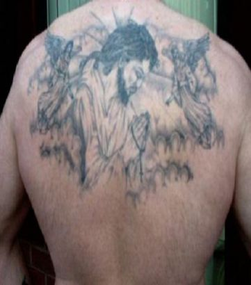 Jesus And Angels Tattoo On Back