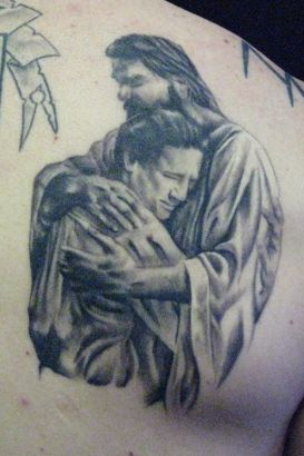 Jesus With Christian Tattoo On Back