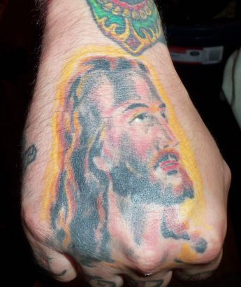 Jesus Pic Tattoo On Hand