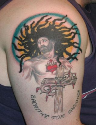 Jesus And Cross Tattoo On Arm