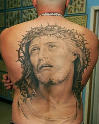 Jesus Picture Tattoo On Back