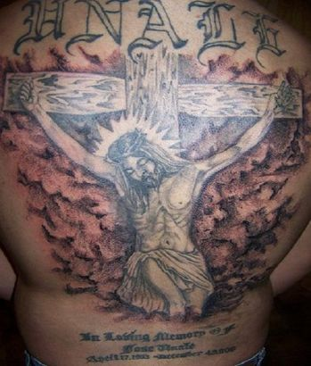 Large Jesus Pic Tattoo On Full Back