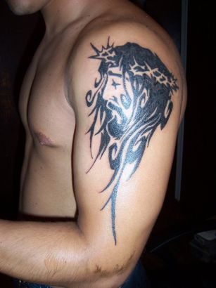 Tribal Jesus Tattoo On Arm