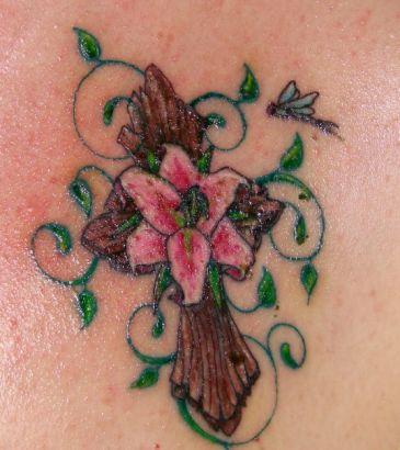 Cross flower and vine tats tattoo from itattooz for Flower cross tattoo