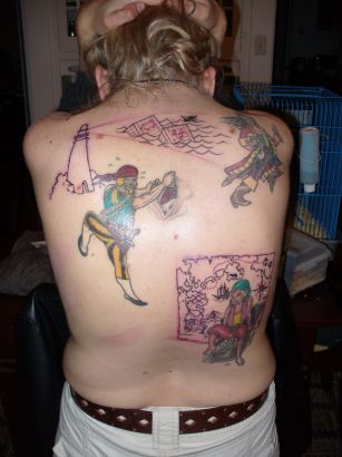 Pirates Tattoo Back Of Man