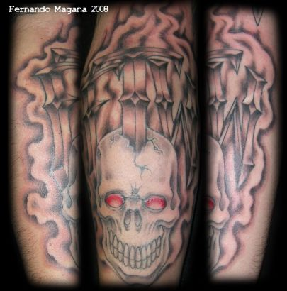 aaron skull tat tattoo from itattooz. Black Bedroom Furniture Sets. Home Design Ideas