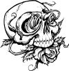 black n white scull tat