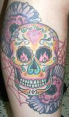 flower with skull tat
