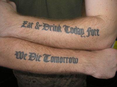 Text Hand Tattoo