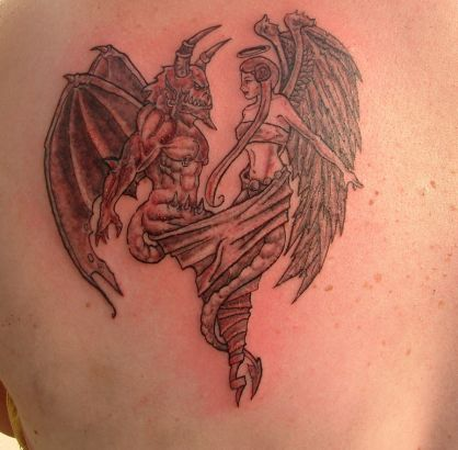 angel girl and demon tattoo tattoo from itattooz. Black Bedroom Furniture Sets. Home Design Ideas