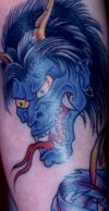 blue demon tattoo