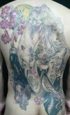 demon women tattoo on back